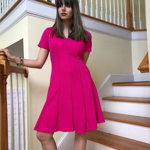 AGB Hot Pink Fit & Flare Lined Dress~SZ 8~NWT $90
